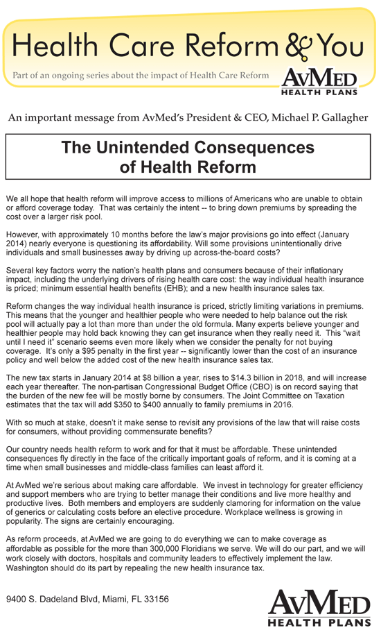 The Unintended Consequences of Health Reform